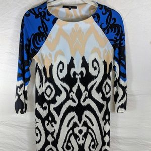 TIBI NEW YORK Blue Black White Peach Soft Dress XS
